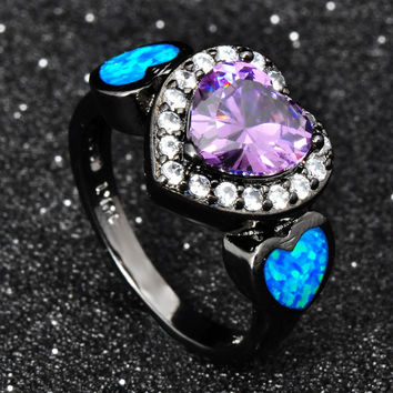 Fashion Heart Design Ring Jewelry 10KT Black Gold Filled Amethyst Zircon Ring Wedding Band Blue Opal Jewelry Size 6 7 8 9
