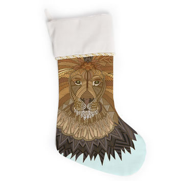 """Art Love Passion """"Lion"""" Blue Brown Christmas Stocking"""