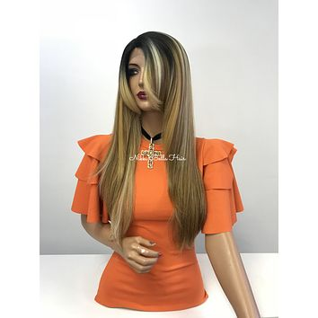 Blond balayage ombre lace front wig - Lake