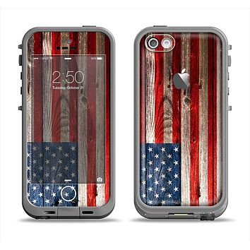 The Wooden Grungy American Flag Apple iPhone 5c LifeProof Fre Case Skin Set