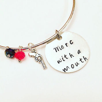 Merc with a Mouth Deadpool Wade Wilson Marvel Adjustable Bangle Charm Bracelet