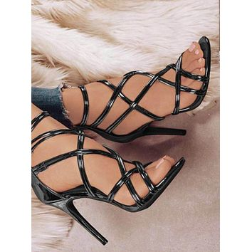Hollow Crisscross Zipper Fashion Women Peep Toe High Heels Shoes