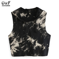 Dotfashion Summer Style For Girls Tie Dye Print Crop Hooded Tank Tops Womens Casual New Arrival 2016 Sleeveless Top