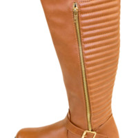 Cognac Stitched Knee High Boot With Gold Zip Accent