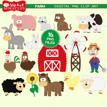 Farm clip art, Farm animals clipart, Cute farm party decoration kit, Barnyard graphics / Instant download, personal and commercial use