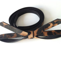 New Summer Season Vintage Brown Color with Animal Print Women Belt with Bow Tie Buckle.