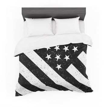 "Bruce Stanfield ""US Flag B&W"" Black White Digital Featherweight Duvet Cover"