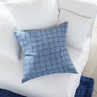 "Indigo Block Printed 23"" Pillow"