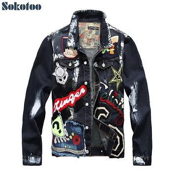 Men's Badge Patched Painted Denim Jacket