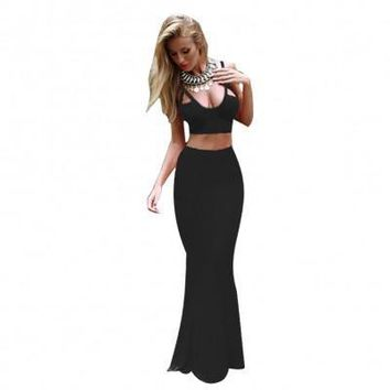 Black Two Piece Maxi Dress