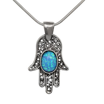 Filigree Hamsa Jewish Necklace With Opal Stone On Sterling Silver 925. Judaica Chamsa Hand Pendant With Chain Gemstone Talisman