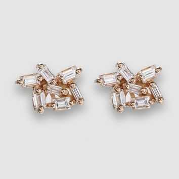 Suzanne Kalan Post Earrings with Firework Setting (Rose Gold)