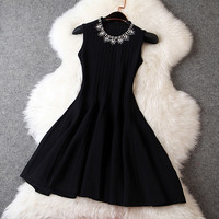Beaded Knit Dress in Black