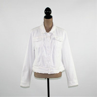Plus Size White Denim Jacket Women Cotton Jacket XL Casual Boho Clothing Plus Size Clothing Womens Clothing