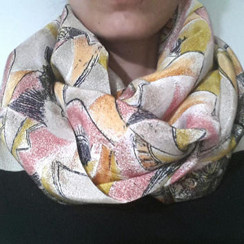 abstract pattern circle scarf, infinity scarf viscose
