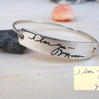 ON SALE Hello February SALE -Personalized Engraved Signature Bangle -Signature Bracelet  -Valentines Gift -Mother's Day gift - Ships in 1-2