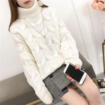 Women autumn winter pullovers basic knitted cotton turtleneck korean style casual loose jumper Long sleeve elasticity sweater