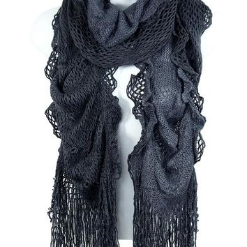 Ruffle Fringe Scarf in Dark Grey