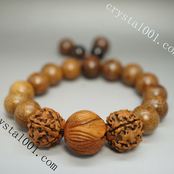 Natural Precious Bodhi Tree Beads Bracelet Carved Lotus Prayer Beads