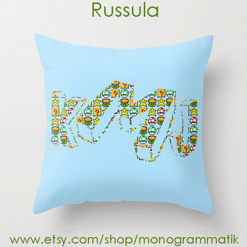 Monogram Personalized Custom Pillow Cover 16x16 Couch Art Bedroom Room Decor Initials Name Letters Aqua Blue Mushrooms Mario Bros Video Game
