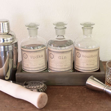 Glass whiskey decanter (set of three) Alcohol decanter, bar set, apothecary jars, apothecary bottles, scotch bottles, gifts for guys