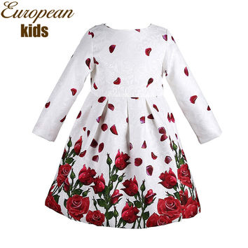 Baby Girl Dress Spring Brand Princess Dress Girl Robe Fille Enfant Rose Flower Print Kids Dresses for Girls Clothes 3-8Y