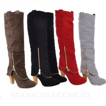 Womens Suede Knee High Boots Booties Winter Ladies High Heal Shoe