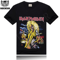 Factory Price Hot sale 100% cotton black tee shirt men's rock t-shirt rock t shirtrock free shipping