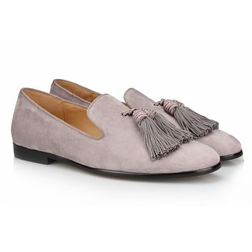 Grey Tassel Velvet Loafers