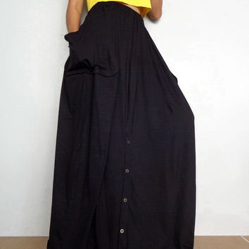 Women Convertible Long Skirt Or Pants, Casual Wide Legs,Black In Cotton Blend  (Skirt WS-5A).