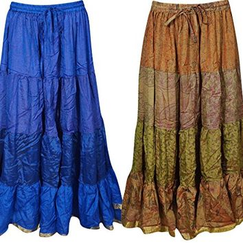 Mogul Womens Gypsy Skirts Vintage Sari Flare Tiered Bellydance Maxi Skirts 2 Wholesale Lot