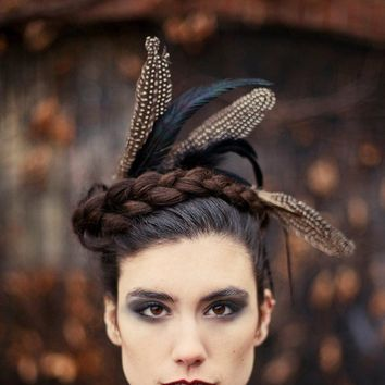 Crown of Love VI  Black feathered headpiece  captured by Minxshop