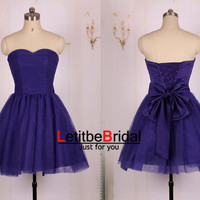 2015 Cheap Ball Gown Sweetheart Short Mini Purple Tulle Prom Dresses Gown/Homecoming Dress/Purple Party Dress/Purple Formal Dress/Custom