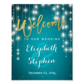 Blue String Lights Welcome Wedding Reception Sign Poster
