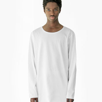 Basic Elongated Long-Sleeve Crewneck Tee in White