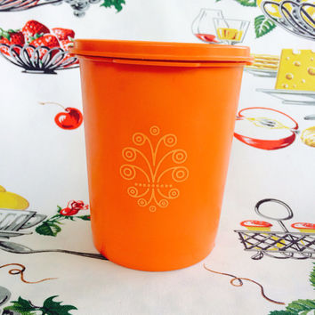"1970s Tupperware Servalier 7"" Orange Canister Vintage Kitchen"