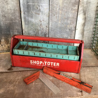 Vintage Red Toolbox, Red and Blue /  Green Toolbox, Steel Toolbox, Shop-Toter,  Repurpose Jewelry , Fishing Tackle, Craft Caddy