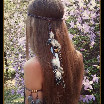 Idealway Fashion Beautiful Boho Style Feather Headband Headdress Tribal Hair Feather Rope Headpieces Hippie Party Jewelry