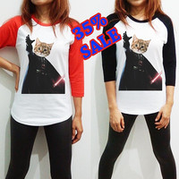 Cat Shirt Darth Vader Clothing Star wars Long Sleeve Raglan Baseball Women Men Tee Tshirt