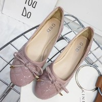 New style trample line lingge bowknot is simple and comfortable round head flat bottom big size shoes women's single shoe