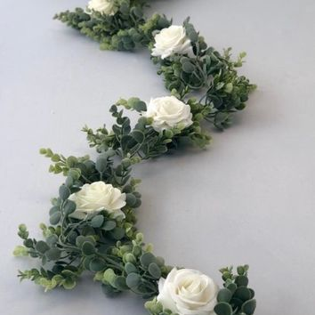 Eucalyptus Garland, White Rose Eucalyptus Garland, Wedding Centerpiece, Boho Arch Flowers, Greenery Garland, Arch Flowers, Table Runner, Gar