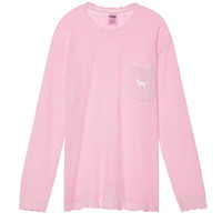 Long Sleeve Campus Crew Tee - PINK - Victoria's Secret