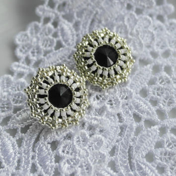 Stud Earrings Silver Black Seed Beads Casual Gift for her Prom Party Formal Rivoli Crystal Fancy Classic Art