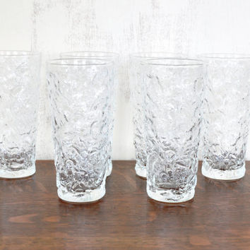 Vintage Anchor Hocking Milano Lido Tall Glasses, Set of Eight, Clear Drinking Glasses, Water Tumblers