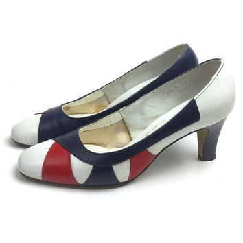 60s shoes, 1960s shoes, 4th of July shoes, red white blue shoes, heels, size 5 shoes, wedding shoes, mod shoes, size 55 shoes