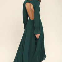 Bubbly Babe Forest Green Backless Maxi Dress