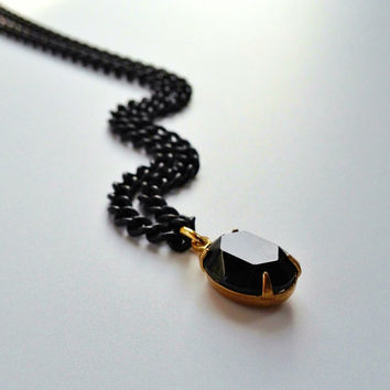Jet Black Swarovski Jewel Necklace, Black and Gold Jewelry, Valentines Day Gift by Atelier Yumi
