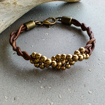 Leather beaded cuff bracelet for women, Woven leather brown wrap bracelet, Womens braided bead cuff , Leather jewelry gifts for her under 25