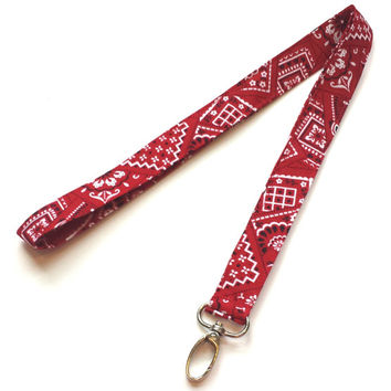 Red Bandana Fabric Print Lanyard Womens Fashion Red Lanyards Bandana Keychain or Keyfob Red ID or Badge Holder Red Bandana Accessories