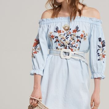 Lila Embroidered Denim Dress Discover the latest fashion trends online at storets.com